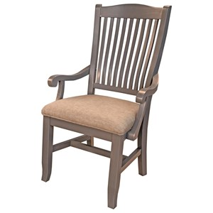 Slatback Dining Arm Chair with Upholstered Seat