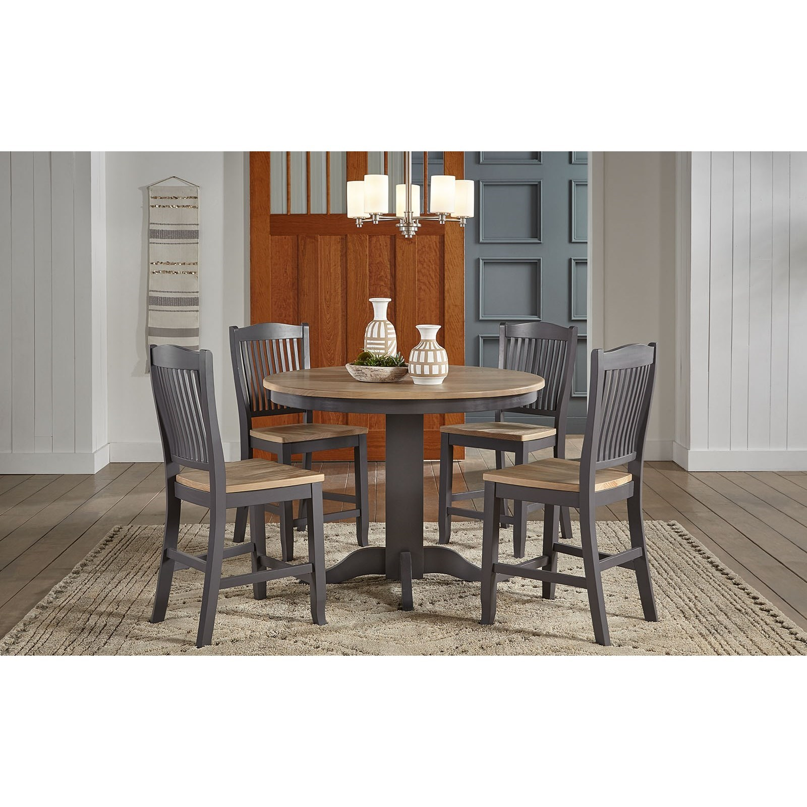 Port Townsend 5-Piece Round Gathering Table and Chair Set by AAmerica at Dinette Depot