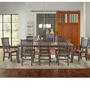 9 Pc Table & Chair Set- (Rectangle Table, 4 Side Chairs & 2 Arm Chairs)