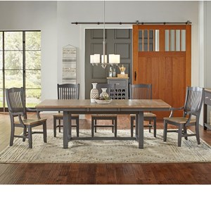 6 Pc Table & Chair Set- (Trestle Table, 3 Side Chairs & 2 Arm Chairs)