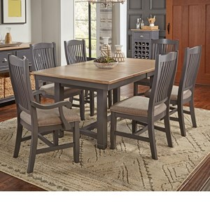 7 Pc Table & Chair Set- (Trestle Table, 4 Upholstered Side Chairs & 2 Upholstered Arm Chairs)