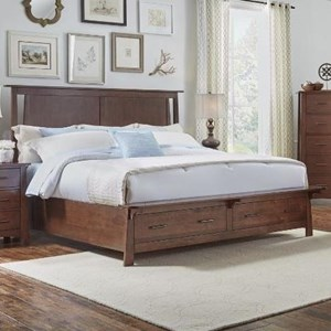 Queen Panel Storage Bed with Bench Platform