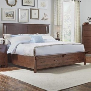 California King Panel Storage Bed with Bench Platform