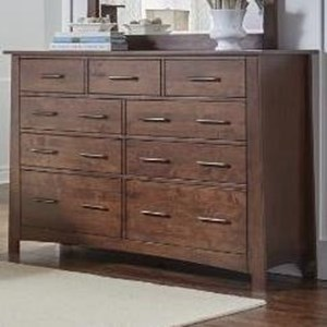 Nine Drawer Dresser with Felt-Lined Top Drawers