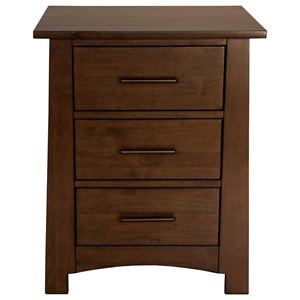 Three Drawer Nightstand with USB Charging Ports