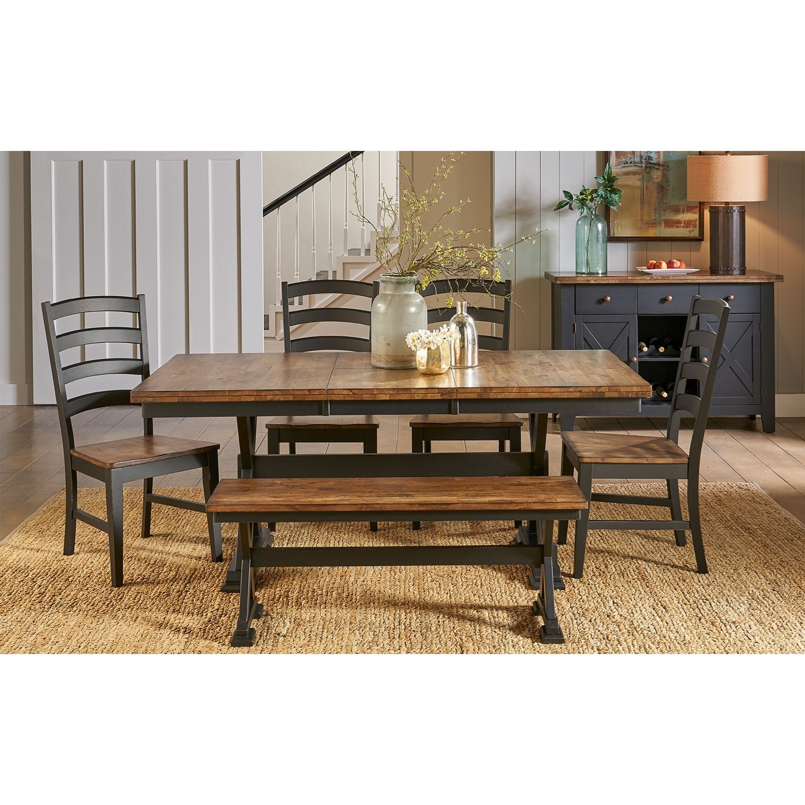 Stone Creek Table and Chair Set with Bench by A-A at Walker's Furniture