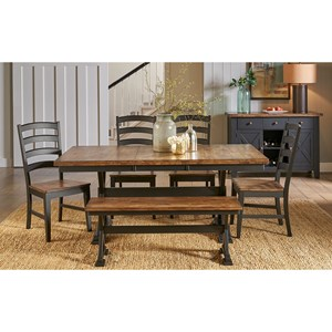 Rustic Solid Wood Table and Chair Set with Bench