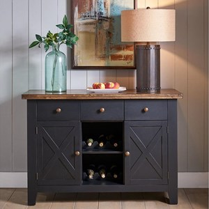 Rustic Solid Wood Three Drawer Sever with Two Wine Racks
