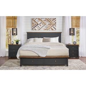 Rustic California King Storage Bed