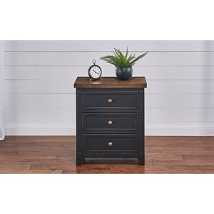 Rustic 3-Drawer Nightstand with USB Port