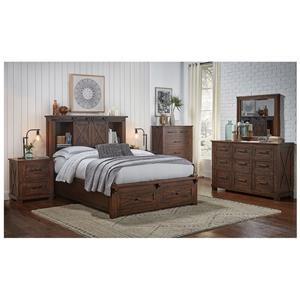 6 Piece Queen Rustic Storage Bed, Dresser, Mirror and Nightstand