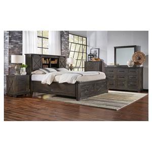 6 Piece Queen Storage Bed, Dresser, Mirror and Nightstand