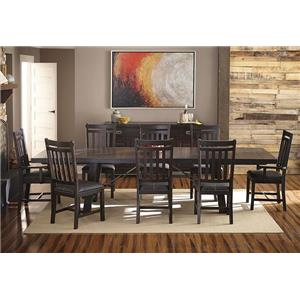 9-Piece Trestle Table and Slat Back Chairs Dining Set