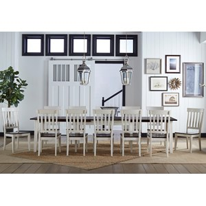 13 Piece Leaf Table and Slat Back Chair Dining Set