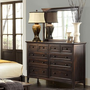 Transitional 10-Drawer Dresser with Landscape Mirror