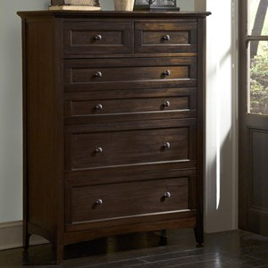 Transitional 6-Drawer Chest with Felt Lined Top Drawers
