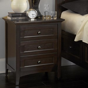 Transitional 3 Drawer Night Stand with Cord Managment