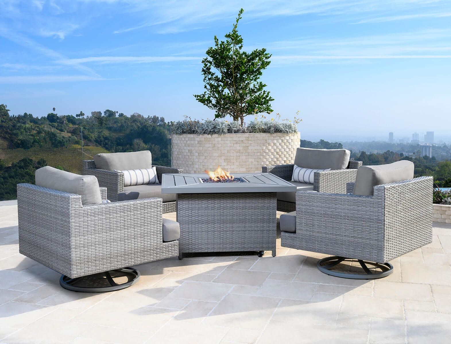 Bellamy Bellamy 5pc Outdoor Fire Chat Set by Abbyson at Morris Home