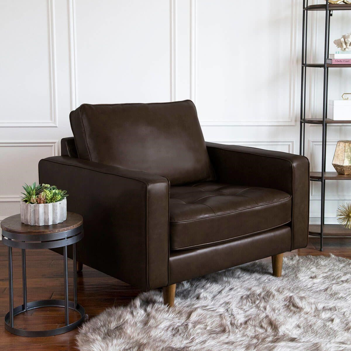 Francine Francine Top Grain Leather Suit Chair by Abbyson at Morris Home