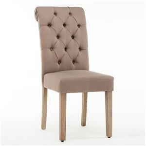 Upholstered Tufted Dining Chair - Brown