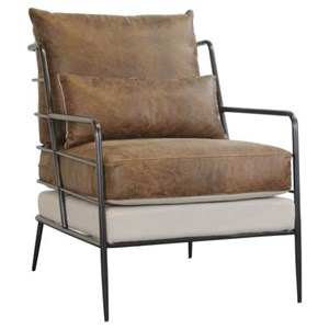 Brown Leather & Fabric Metal Frame Chair