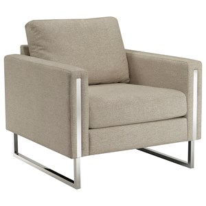 Nickel Frame Accent Chair