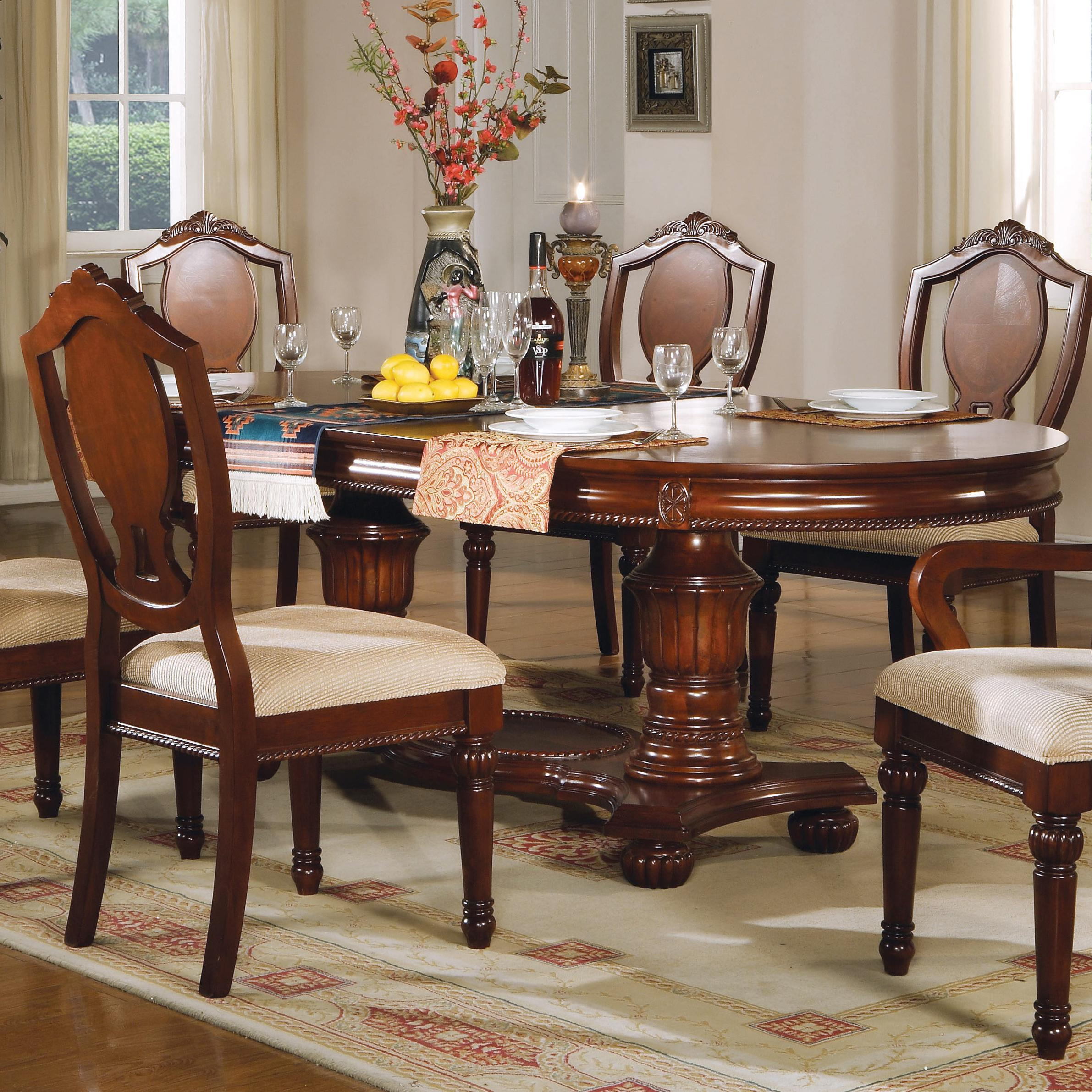 11800 Double Pedestal Table by Acme Furniture at Corner Furniture