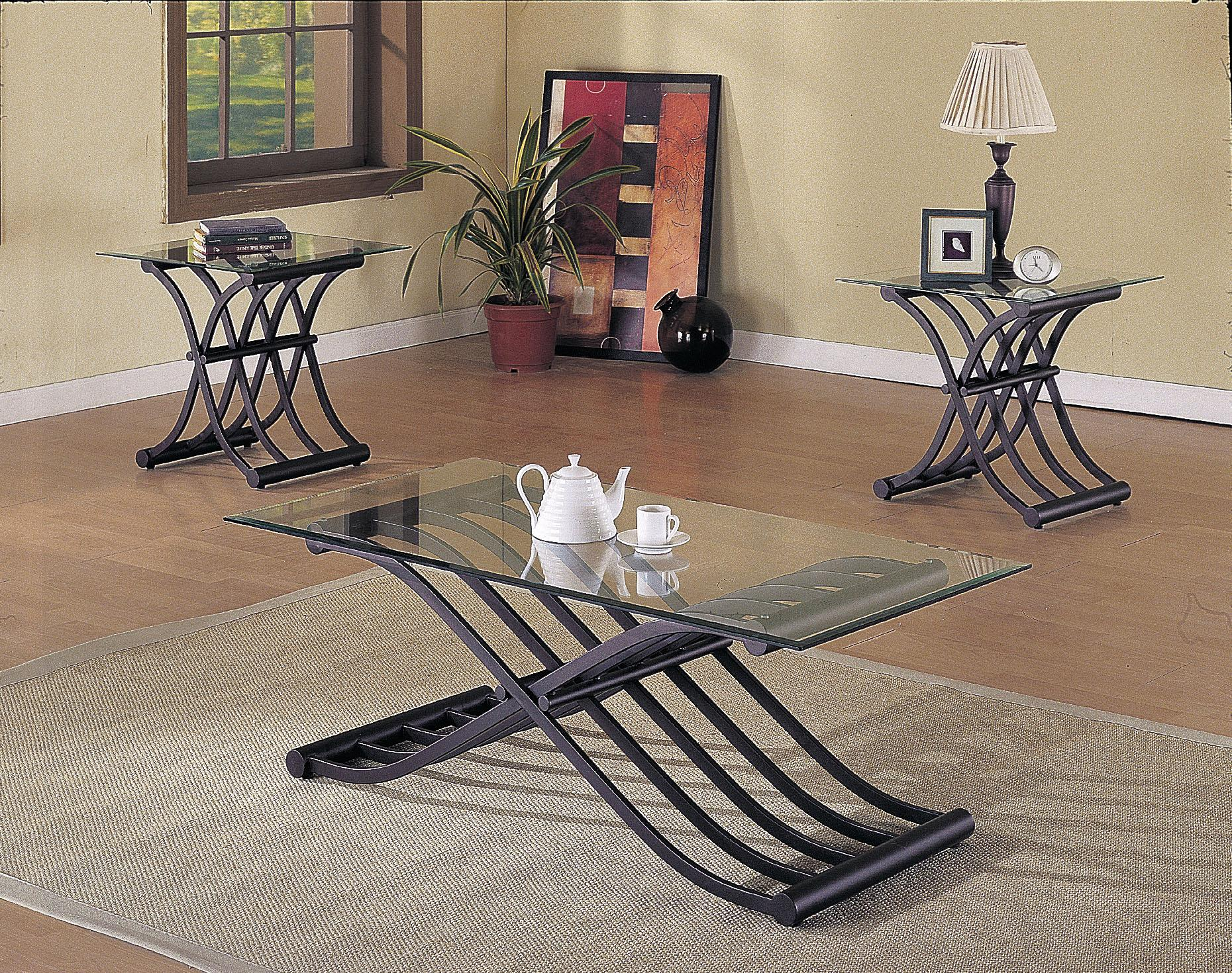 2708 Wave 3 Piece Coffee/End Table Set by Acme Furniture at Carolina Direct