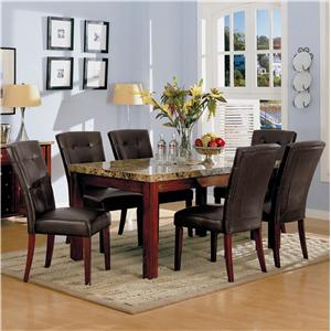 Bologna Marble Top 7 Piece Table Set