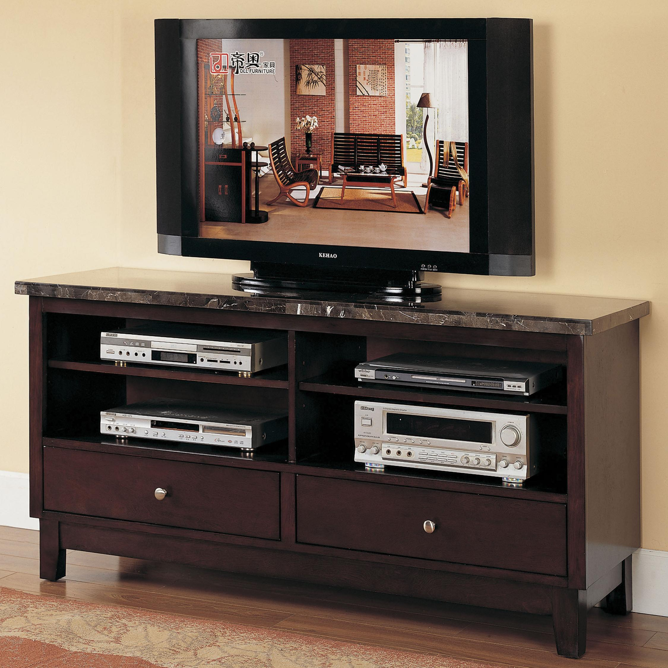 7093 Black Marble Top Entertainment Console Set by Acme Furniture at Nassau Furniture and Mattress