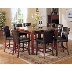 Bologna 9 Piece Counter Height w/ Marble Top Table Set
