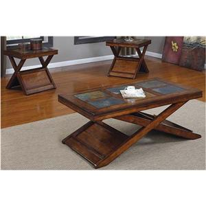 Transitional 3 Piece Occasional Table Set with Slate Inlays