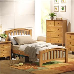 Twin Slatted Headboard & Footboard Bed