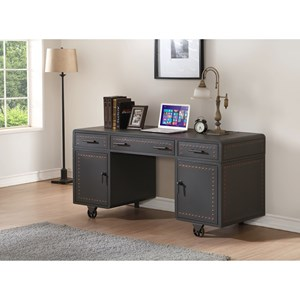 Transitional Desk with Storage and Industrial Wheels