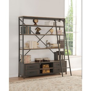 Transitional Bookshelf & Ladder with 6 Shelves and 4 Drawers