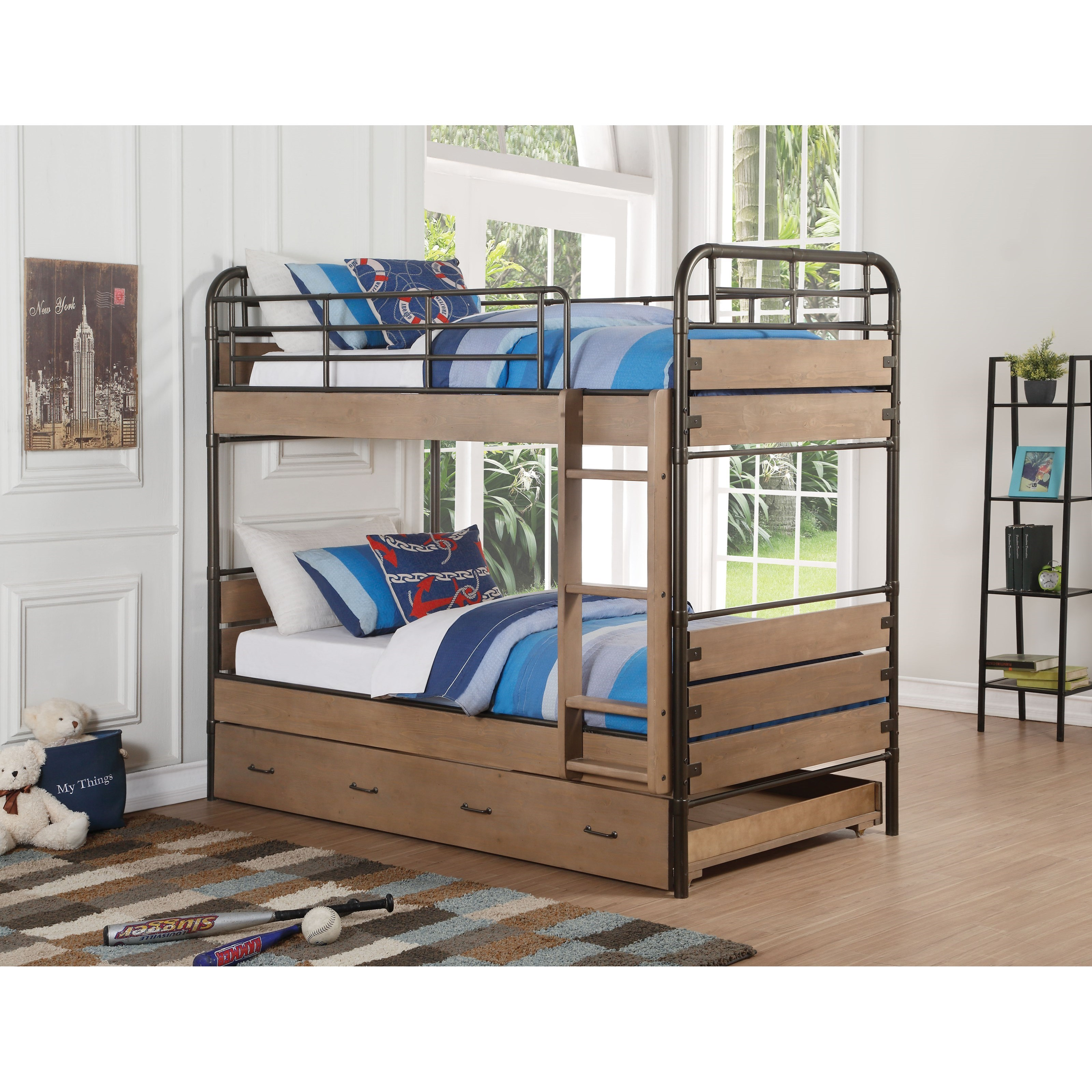 Adams Twin Bunk Bed  by Acme Furniture at A1 Furniture & Mattress