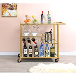 Champagne Finish Metal and Mirror Serving Cart