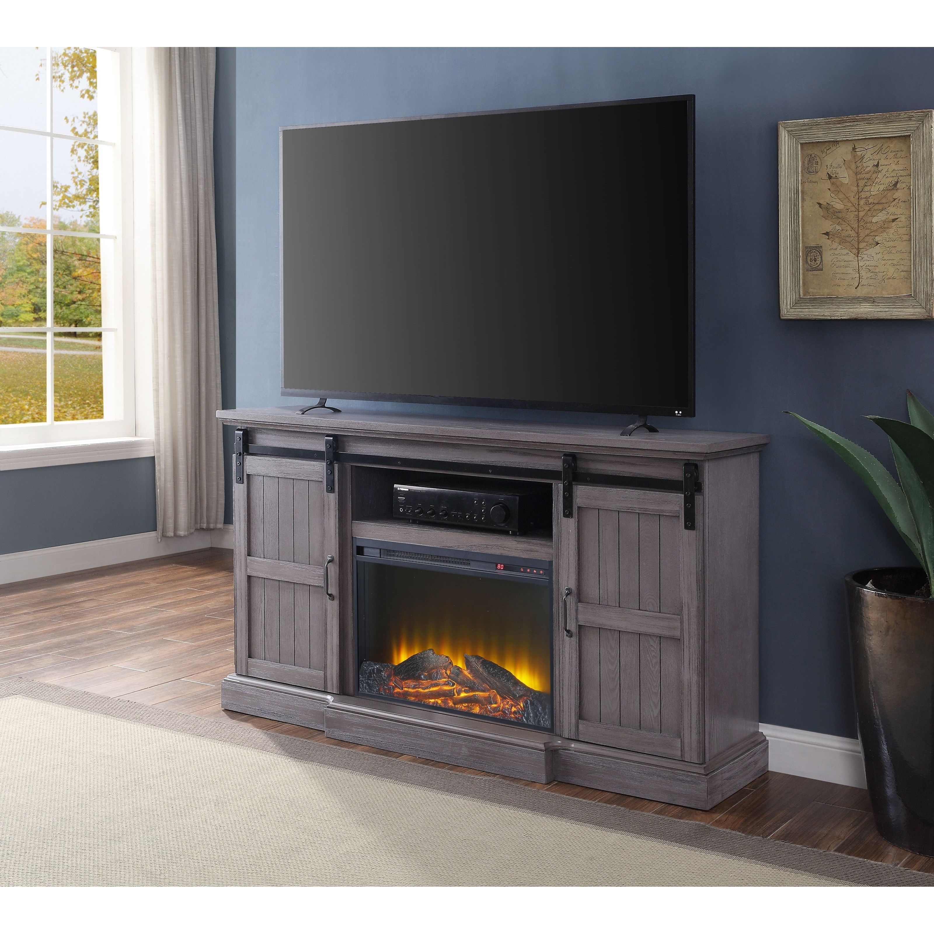 Admon TV Stand with Built-In LED Fireplace by Acme Furniture at Carolina Direct