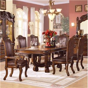 Acme Furniture Agate Ornate Dining Table and Chair Set