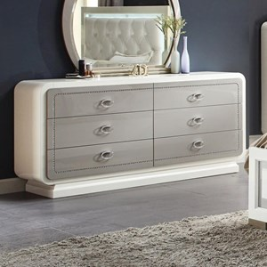 Modern Two Tone Dresser with Faux Leather Croc Upholstered Drawers
