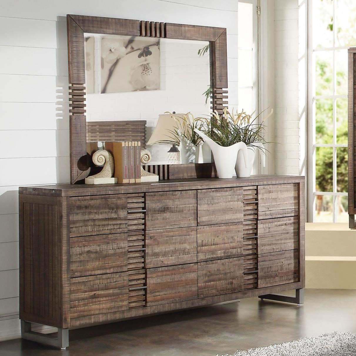 Andria 6 Drawer Dresser with Mirror by Acme Furniture at Carolina Direct