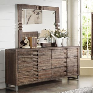 6 Drawer Dresser with Mirror and Felt Lined Top Drawer
