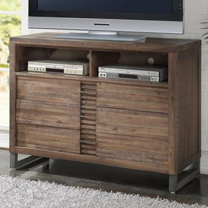 3 Drawer TV Console with 2 Media Open Compartments and Felt Lined Top Drawer