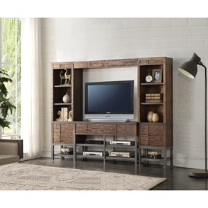 Rustic Industrial Wood and Metal Entertainment Wall