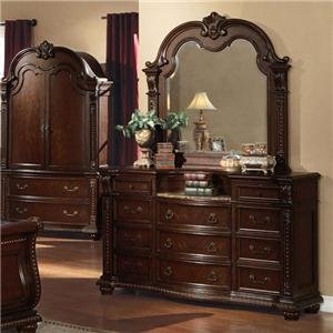 Acme Furniture Anondale Traditional Dresser and Mirror Combo