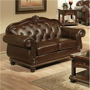 Acme Furniture Anondale Cherry Top Grain Leather Loveseat