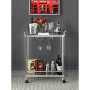 Contemporary Clear Arcylic/Chrome Finish Metal Serving Cart