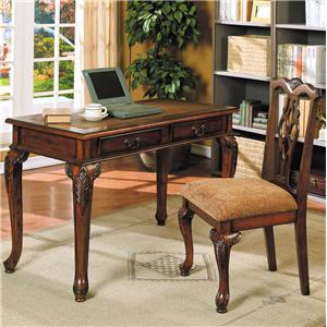 Writing Desk and Decorative Splat Back Side Chair Set