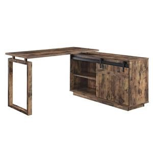 Rustic L-Shaped Desk with Sliding Barn Door