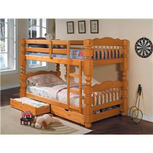 Traditional Twin Bunkbed with Storage Drawers